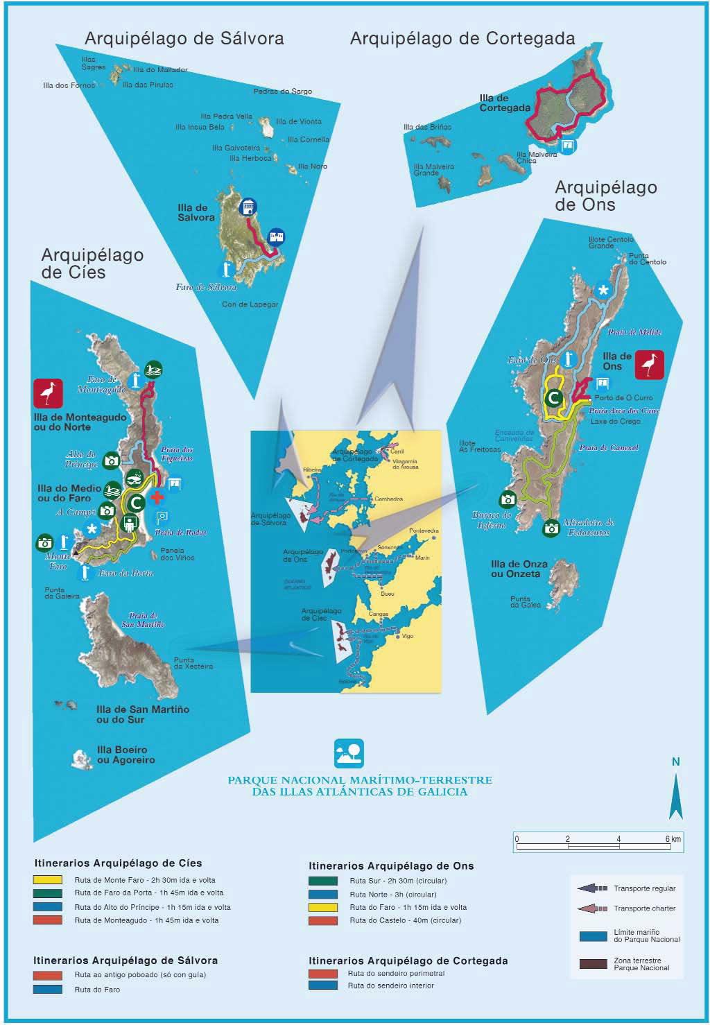 Isla De Ons Mapa.National Park Parque Nacional Maritimo Terrestre Das Illas